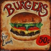 "tableau autres hamburger fastfood vintage plaque : burgers ""for lunch"""