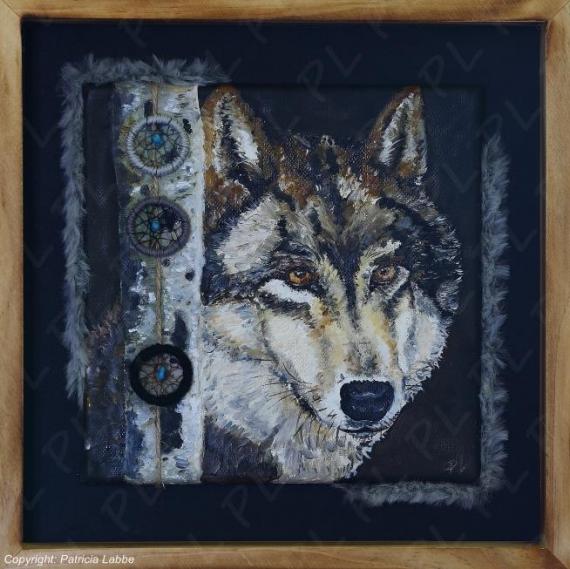 TABLEAU PEINTURE loup wolf nature attraperêves Animaux Peinture a l'huile  - Portrait loup
