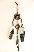 tableau animaux loup pattes plumes amerindien : Wolf Dream catcher (vendu)