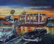 tableau scene de genre diner restaurant voiture route 66 : Diner route 66