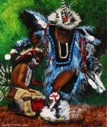 tableau scene de genre danse costume amerindien plume : Pow wow dancing