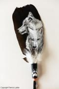 tableau animaux loup sauvage foret meute : Couple de loups blancs n°2
