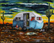 tableau scene de genre caravane vintage usa americandream : Caravan dream in the desert -