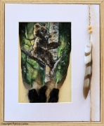 tableau animaux plume ours nature bois : Ourson