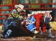 tableau scene de genre rodeo clown cowboy amerique : Couleurs rodéo -Les cow-boys-clowns