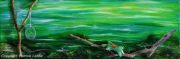 tableau animaux tortue eau perles riviere : Turtle dreamcatcher- Au fil de l'eau -