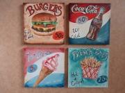 tableau autres cuisine vintage fast food hamburger : Ma cuisine vintage