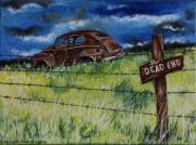 tableau scene de genre epaves desert dead end rouille : Dead end road -