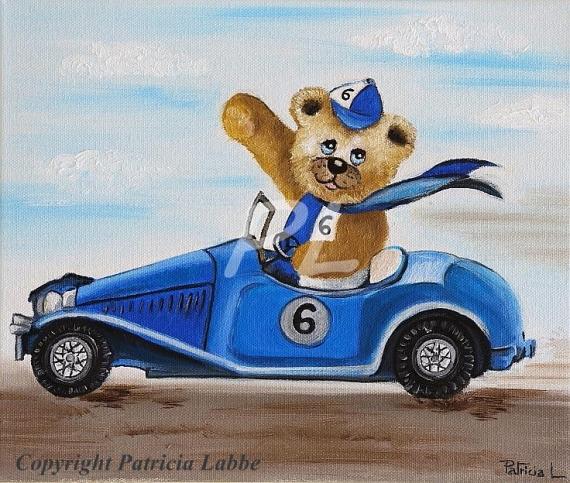 TABLEAU PEINTURE voiture ours course chambre Peinture a l'huile  - Ourson pilote