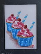 tableau autres patisserie gourmandise gateau creme : Trio de cupcake