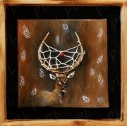 tableau animaux cerf yellowstone bois wapiti : Dear portrait dreamcatcher
