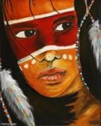 tableau personnages enfant indien plume visage : Beau visage amérindien
