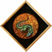 tableau animaux gecko lezard reptile vert : Green lizard dreamcatcher