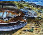 tableau scene de genre epaves desert voiture americaine desoto : Desert car wrecks-