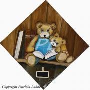 tableau autres ours livre bibliotheque chambre : Papa ours et son ourson à la bibliothèque