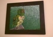 tableau animaux perroquet vert trompe l oeil acrylique : Perroquet