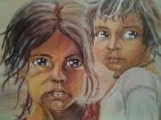 tableau personnages enfants soeur inde : les enfants de l'Inde
