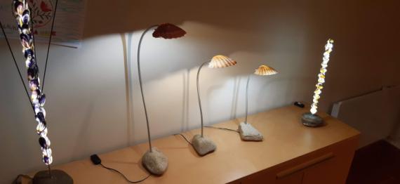 ARTISANAT D'ART luminaire lampe de bureau LED coquillage Marine  - Saint Jack