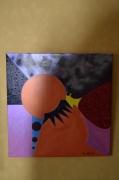 tableau abstrait tableau peinture acrylique clown : L'OEIL DU CLOWN Réf.AK150301