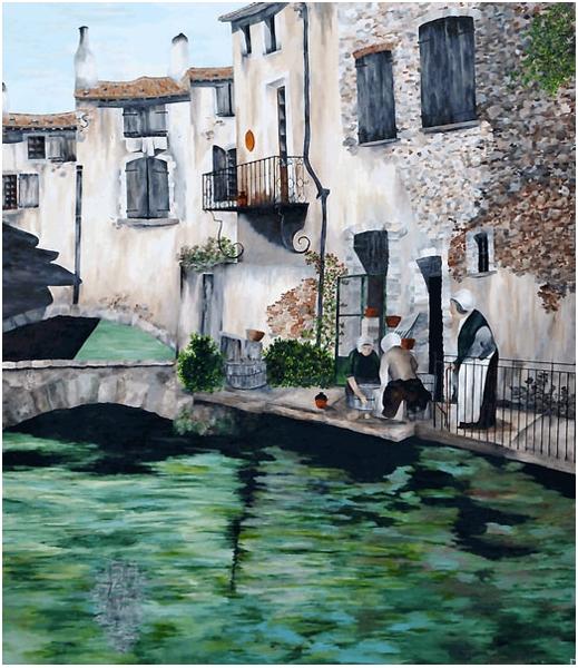 TABLEAU PEINTURE l'isle sur la s provence peintures la sorgue Paysages Acrylique  - L'Isle sur la Sorgue