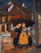 tableau personnages histoires contes illustrations peintures grand form : Le Parapluie Omnibus