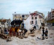 tableau personnages villages de provence historique scenes de vie peintures grand form : Voiture de messagerie
