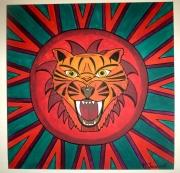 tableau animaux tigre psychedelique couleurs vives fauve : Le fauve