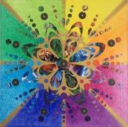 tableau abstrait mandala mixte collag : 100 suns