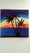 tableau paysages tropiques palmier crepuscule plage : TROPIQUES