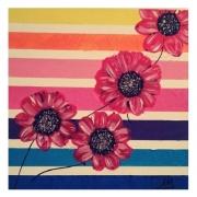 tableau abstrait mariniere fleurs multicolor abstrait : ROSE MARINIERE