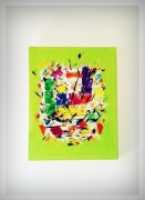 tableau abstrait multicolor folie abtrait couteau : WASABI