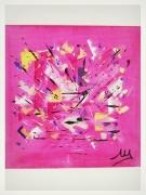 tableau abstrait rose folie joie abstrait : ROSE MARQUISE