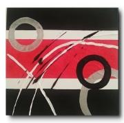 tableau abstrait rouge blanc noir argent : AMOR AMOR