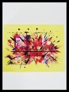 tableau abstrait jaune artifice abstrait : FOLLE ARTIFICE