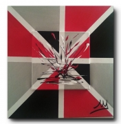 tableau abstrait rouge noir argente : rouge et noir