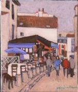 tableau scene de genre montmartre rue chevalier : rue du chevalier de la Barre