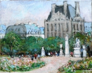 tableau paysages tuileries louvre printemps : Le Louvre