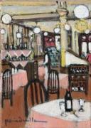 tableau scene de genre cafe lepic montmartre : pomponnette