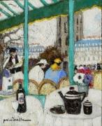tableau terrasse de cafe 2 magots st germain paris 6 : terrasse des 2 magots