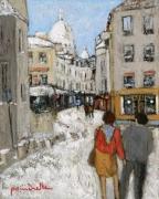 tableau personnages rue norvins neige montmartre : le couple