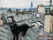 tableau animaux chat noir toits montmartre : le chat