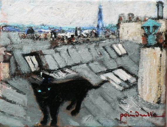 TABLEAU PEINTURE chat noir toits montmartre Animaux Peinture a l'huile  - le chat