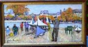 tableau paysages jardin des tuileries voiliers paris : jardin des Tuileries