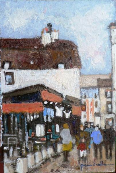 TABLEAU PEINTURE rue montmartre Scène de genre Peinture a l'huile  - la rue du chevalier de la Barre