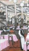 tableau scene de genre interieur de cafe paris : Au  bouillon Chartier