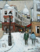 tableau paysages norvins neige montmartre : neige rue Norvins