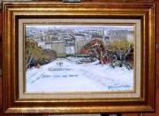 tableau paysages square neige montmartre : square willette paris 18
