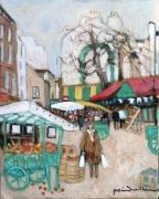 tableau scene de genre marche mouffetard paris : marché rue Mouffetard