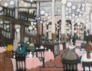tableau scene de genre restaurant interieur brasserie : Le bouillon  Chartier