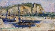 tableau marine etretat plage falaise normandie : plage d'Etretat